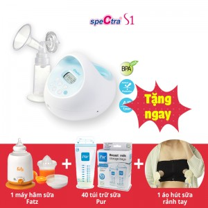 Máy hút sữa điện Spectra S1 (tặng 1 áo hút sữa rảnh tay + Máy hâm nóng sữa và thức ăn FATZBABY + hộp túi trữ sữa Pur 40 túi)