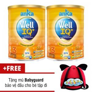 Bộ 2 Sữa anka well IQ step 3 900g tặng nón tập đi cho bé Babyguard