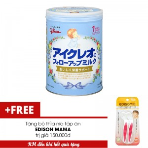 Sữa Glico Icreo số 1 820g tặng 1 bộ thìa nĩa tập ăn EDISON MAMA