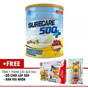 Sữa Surecare 500 plus 1+ 900g (1-3 tuổi) tặng đồ chơi lắp ráp hoặc đàn vui nhộn