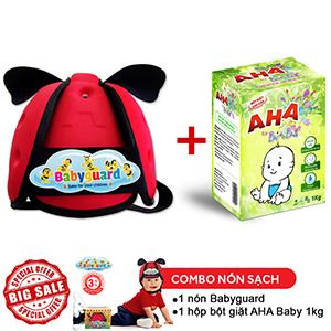 Combo Nón Bảo Vệ Bé Babyguard Đỏ và hộp Bột giặt cao cấp AHA BABY 1kg